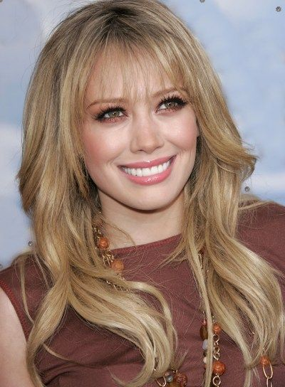 hilary duff long bangs wavy
