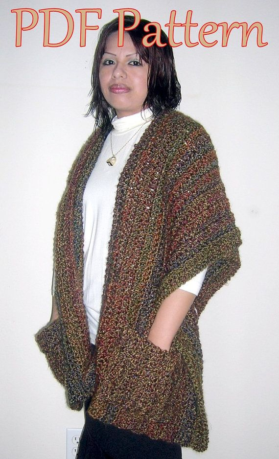 PDF Crochet Pattern -Super Simple Shaped Shawl