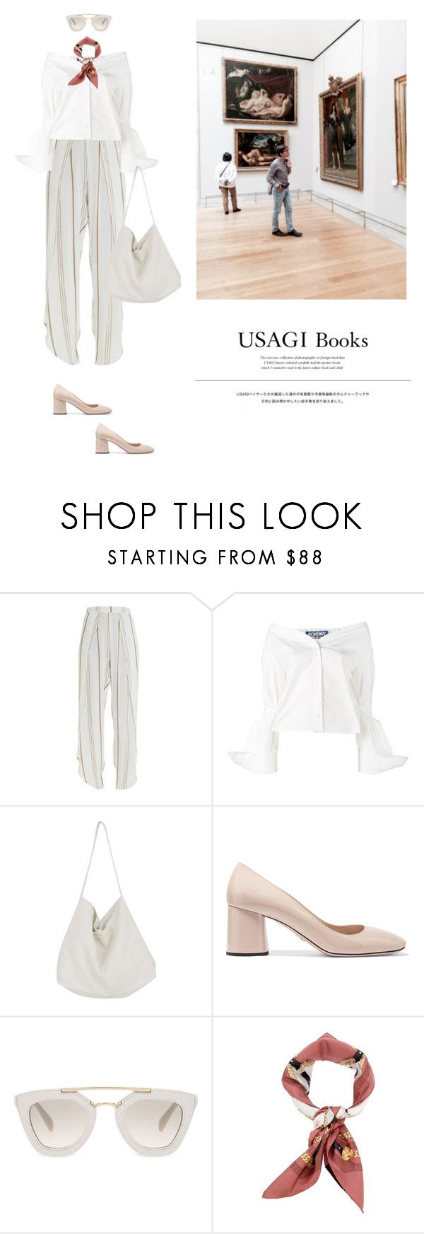"""""""all good in white"""" by yenybarriot on Polyvore featuring Faithfull, Jacquemus, Prada, Gucci and Usagi"""