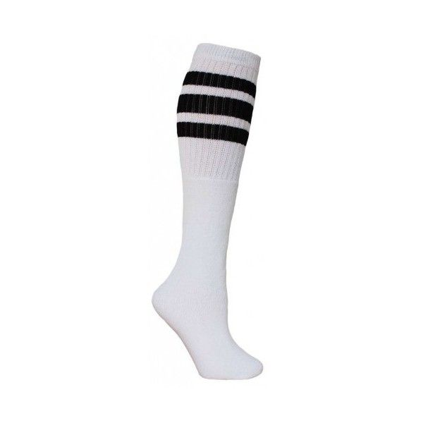 Sale 6 pairs of 23 inch White tube socks with old school three stripes ($27) ❤ liked on Polyvore featuring intimates, hosiery, socks, striped tube socks, tube socks, stripe socks, white socks and striped socks