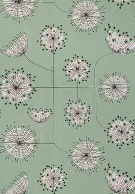 Dandelion Mobile Mist Green with White Wallpaper by MissPrint. PEFC certified and printed in the UK
