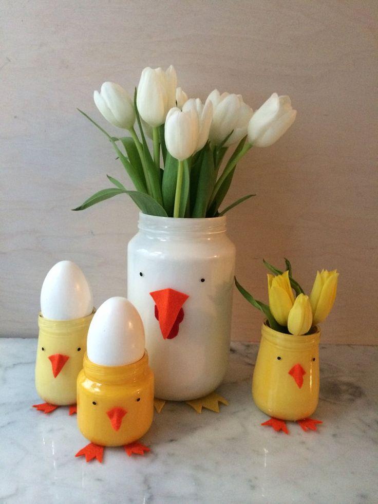 Recycled jar Easter vases!
