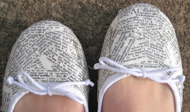 Dictionary SHOES?! Create a classy pair of flats with an old dictionary and some Modge Podge!