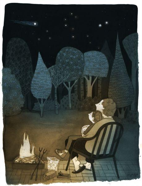 Oma's House on a Summer Night   ©Vesper Stamper Illustration.