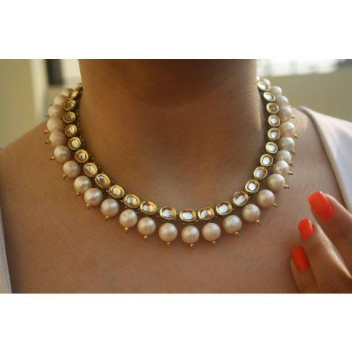Online Shopping for Kundan and Pearl Neckpiece | Necklaces | Unique Indian Products by Ruby Raang - MRUBY98269499170