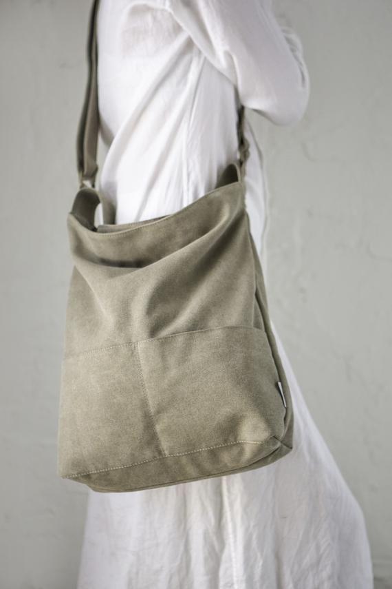 Women cross body bag Crossbody purse Canvas crossbody bag Canvas purse Shoulder bag purse Gray handbag Cross body purse Crossbody bag purse