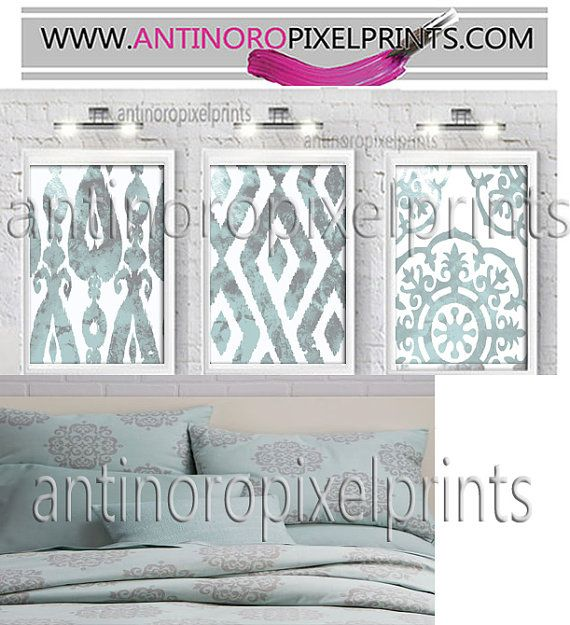 Mosaic Medallion Watercolor Ikat Pale Harbor Green Grey Wall Art Prints  - Set of (3) - 16x20 Prints - Custom Colors Available(UNFRAMED)