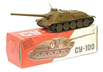Russian/Soviet Make Aluminium SU-100 WWII Self-Propelled Gun '341'. Military green body & wheels, green plastic headlight & aerial, rubber tracks.1:43 scale. One corner glue repaired otherwise Near Mint in excellent card box (slight tear) with inner.