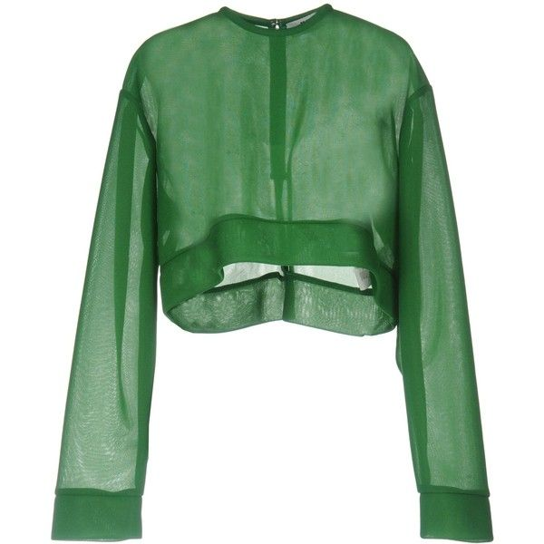 Msgm Blouse ($209) ❤ liked on Polyvore featuring tops, blouses, shirts, crop top, green, green long sleeve blouse, crop blouse, cropped shirts, zipper shirt and green crop top