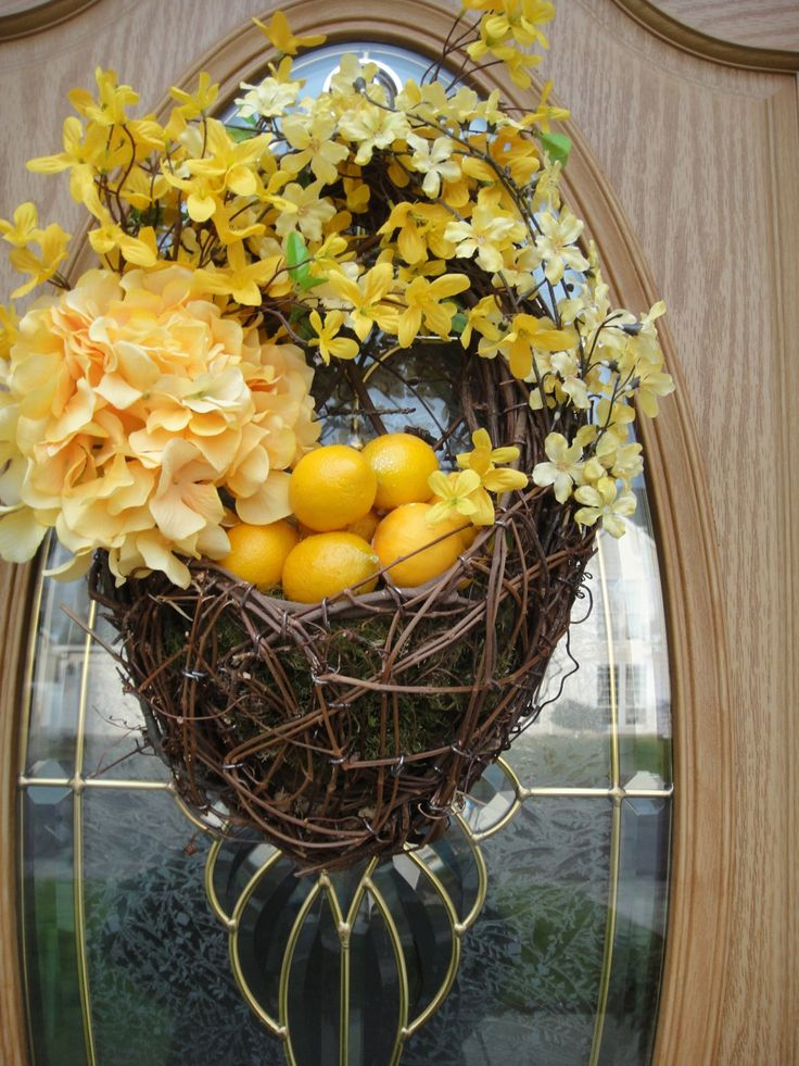 Floral Basket   Forsythia Wreath   Easter Wreath   Easter Decor   Lemon Wreath  Spring and Summer Wreath. $60.00, via Etsy.