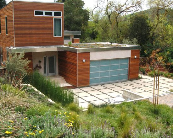 concrete squares and glass door