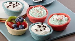 Sugar Cookie Cups: Cookie cups make a fun edible holder for desserts. Fill with fruit, ice cream, yogurt, pudding or mousse.