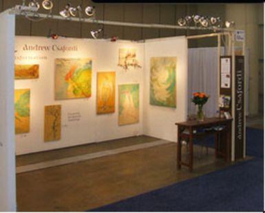 sleek trade show booth design with art spot lighting - Trade Show Booth Design Ideas