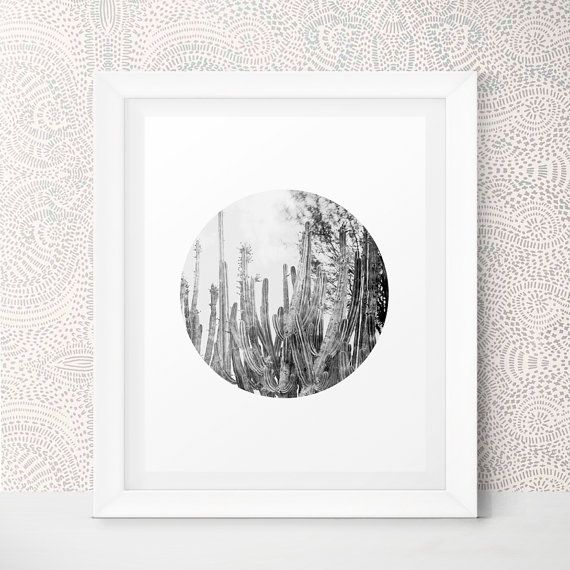 Cactus Print Husband Gift Most Popular Item Cactus Photography Cactus Wall Art Black and White Photography Men Gift Printable Photography by LittleWants