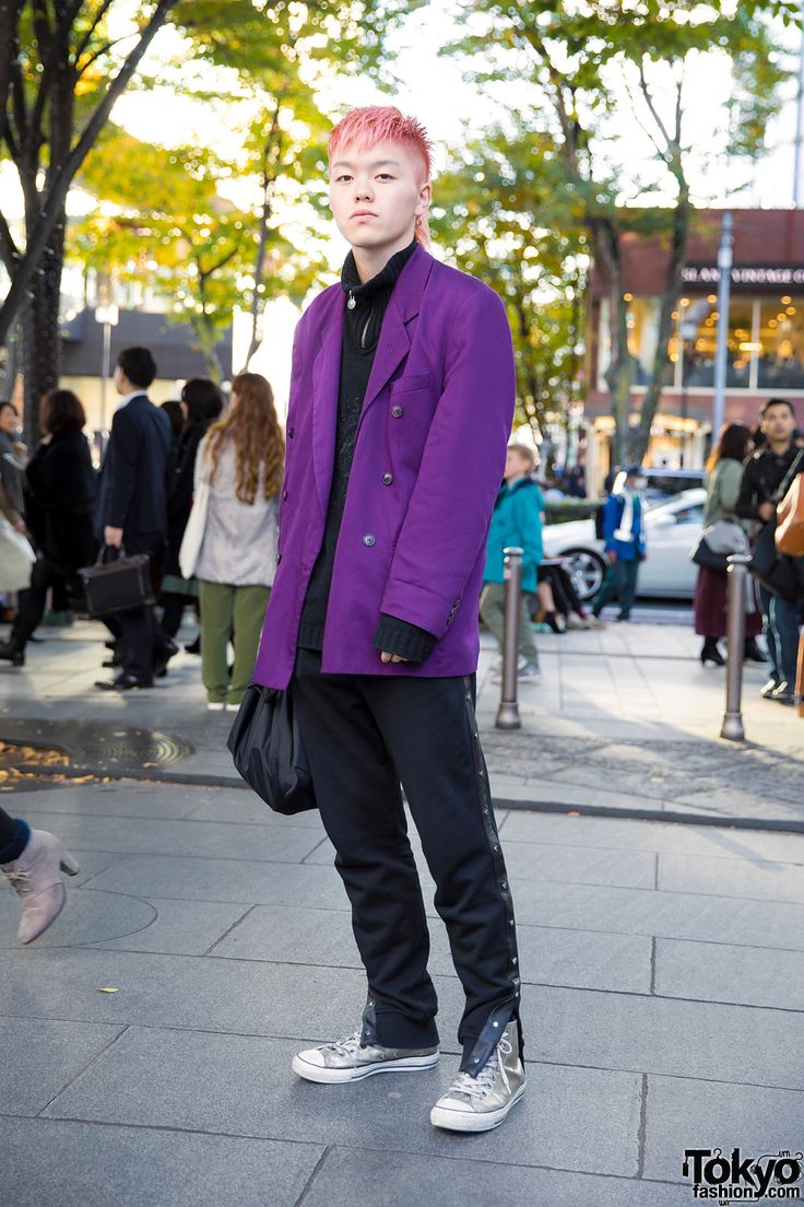Pink-Haired Harajuku Guy in Purple Blazer, Diesel Pants & Metallic High Top Sneakers