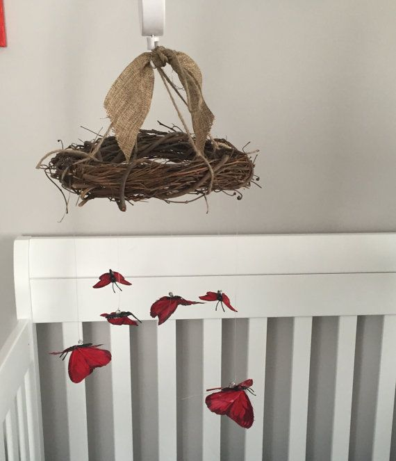 Infant stimulation Montessori inspired handmade butterfly crib mobile (includes battery operated spinning music box and crib arm)