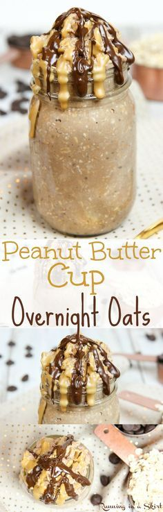 Healthy Peanut Butter Cup Overnight Oats recipe.  Packed with powdered peanut butter, chocolate, greek yogurt and chia seeds.  Easy, simple to make and clean eating. A nutritious and filling way to start your mornings!  Gluten free and vegan friendly. / Running in a Skirt