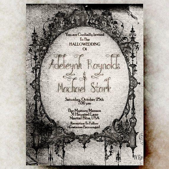 Halloween wedding invitation printable  Hallowedding
