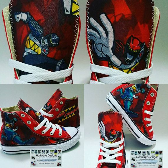 Custom Power Ranger Converse, boy birthday shoes, dino charge cotton fabric material Converse: 4c-10c $75- 11c-3y $90 3.5&up $105 Some colors are not available in half sizes How its made: Converse shoes are directly ordered from Nike.com to ensure authenticity. Licensed cotton material is bonded to the shoe and then hand sewn for durability. Processing takes 1-2 weeks We take pride in providing high quality products and great customer satisfaction! Please tag us in your photos on IG @hall...