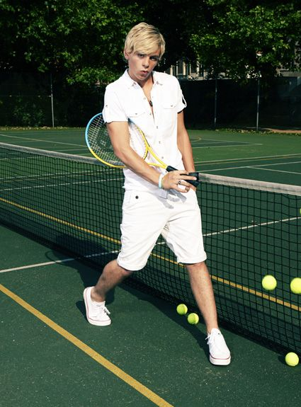 Ross Lynch. this picture has two of my three favorite things, Ross lynch, and tennis. all that's needed is a cuddly cat.