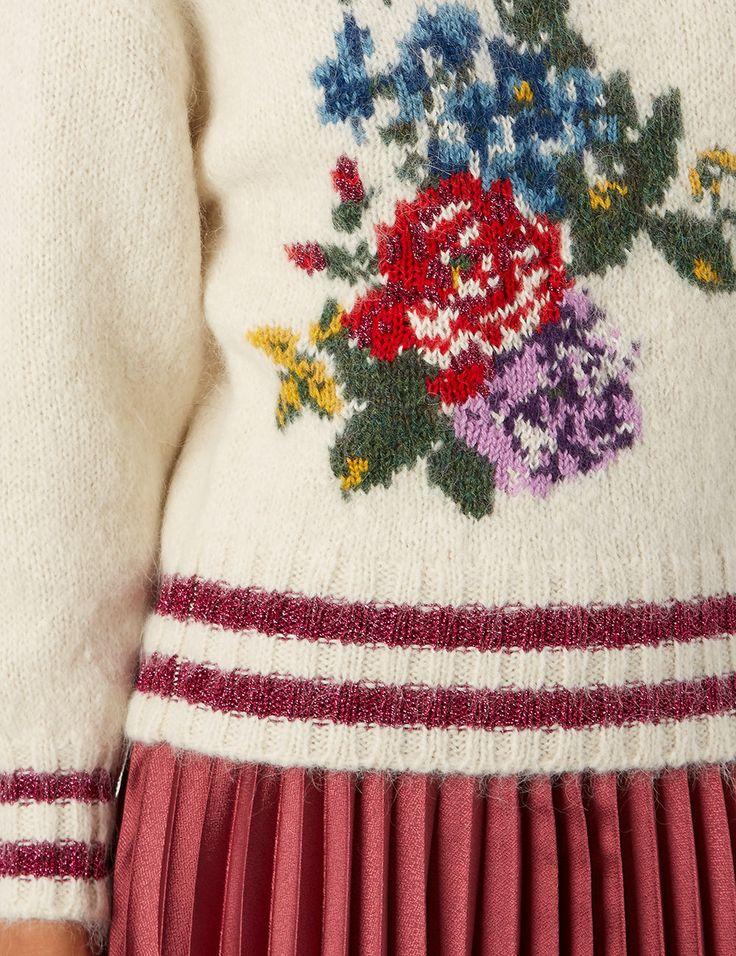Cream Knitted Flower Roll Neck Jumper