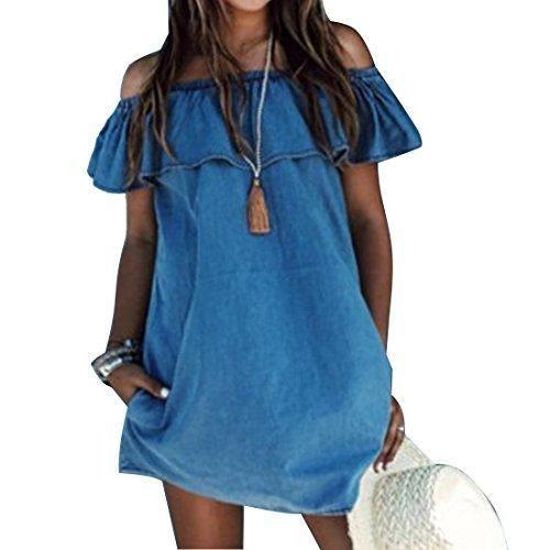 Oferta: 6.1€ Dto: -33%. Comprar Ofertas de Las mujeres suelta cuello barra vaqueros vestidos de verano sin mangas ocasional XL barato. ¡Mira las ofertas!