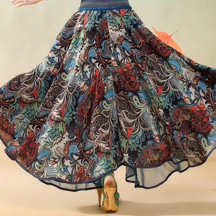 Mujer largo azul falda gitana bohemia gran Hem Hippie Faldas en capas Patchwork tendencia nacional Saia Cigana Longa Faldas Largas