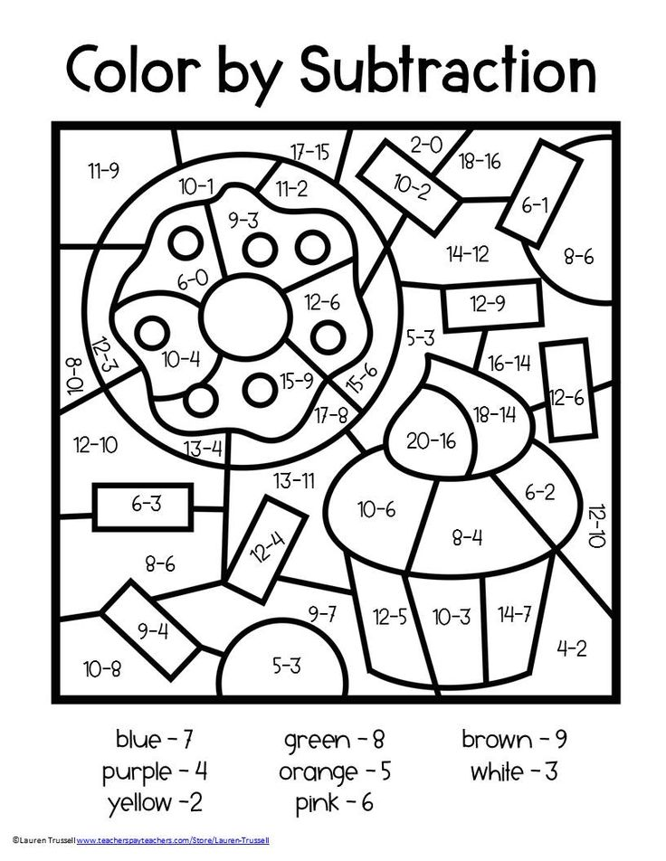 Subtraction Color by Number 2nd grade math worksheets