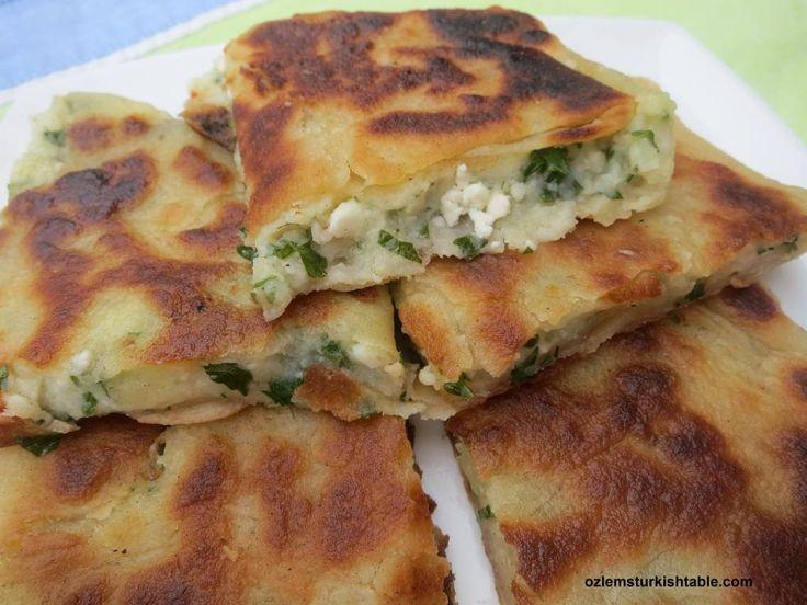 Traditional Turkish Flat Breads with potato and cheese; Patatesli Gozleme, ,