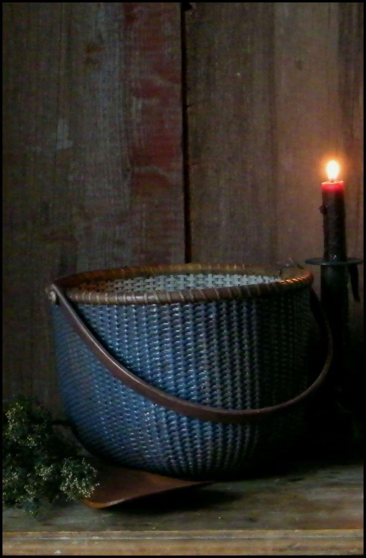 Primitive Blue Nantucket Gathering Basket.