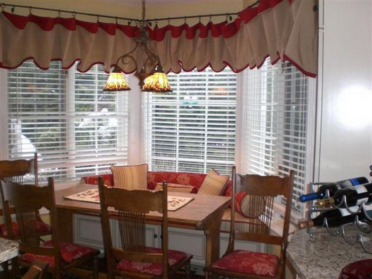 32 best dining room images on pinterest dining rooms for Window treatments for bay windows in dining room