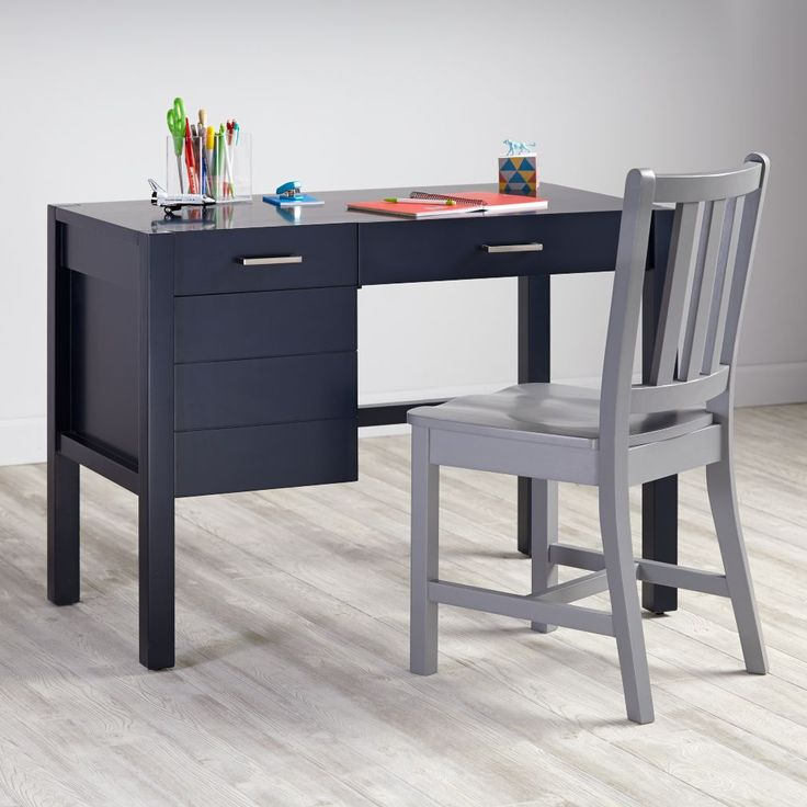 Shop Uptown Modern Kids' Desk (Navy).  The Uptown Desk in navy features clean, crisp lines for a modern look in four easy-to-coordinate finishes.  Shop kids' desks today.