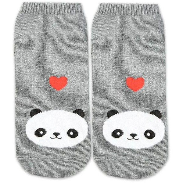 Forever21 Panda Graphic Ankle Socks (2.34 CAD) ❤ liked on Polyvore featuring intimates, hosiery, socks, panda socks, forever 21, tennis socks, short socks and heather socks