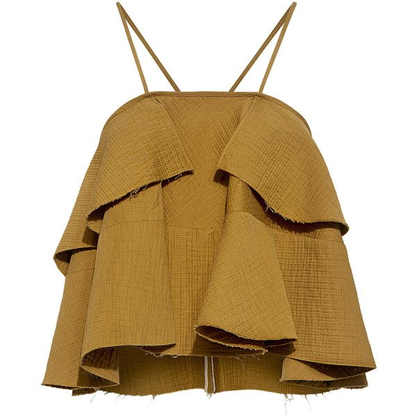 Rachel Comey - Euphora Ruffle Cropped Top (£265) ❤ liked on Polyvore featuring tops, brown top, tiered ruffle top, ruffle halter top, halter crop top and flutter-sleeve top