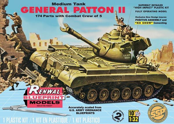 M47 Patton Tank Plastic Model Kit FROM REVELL SSP / Renwal features 5 crew figures, opening engine covers and separate turret hatches. 1/32 scale. #85-7821