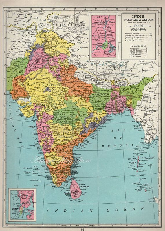 Large Gorgeous Map of INDIA1940 atlas antique by AntiqueMapStore