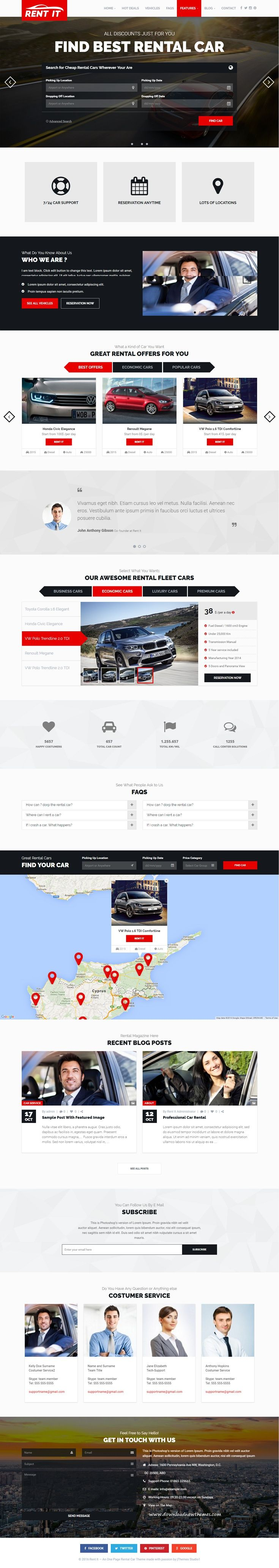 Rentit car bike vehicle rental wordpress theme