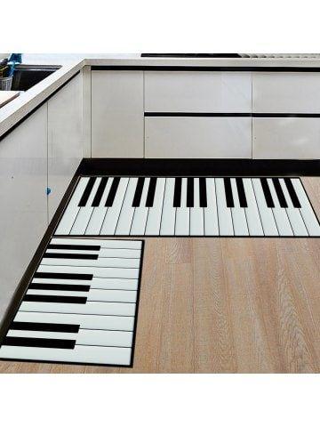 Kitchen Floor Mat Super Soft Piano Keys Pattern Washable Door Mat