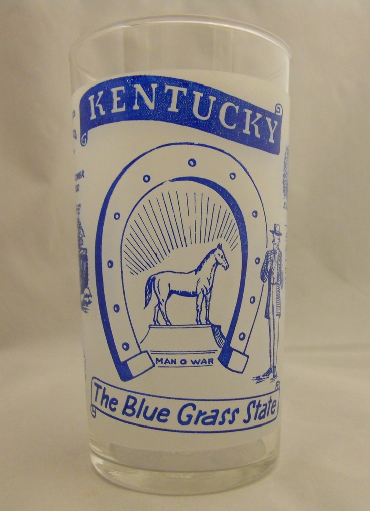 Vintage 50's Kentucky The Blue Grass State Tumbler Souvenir Federal Glass