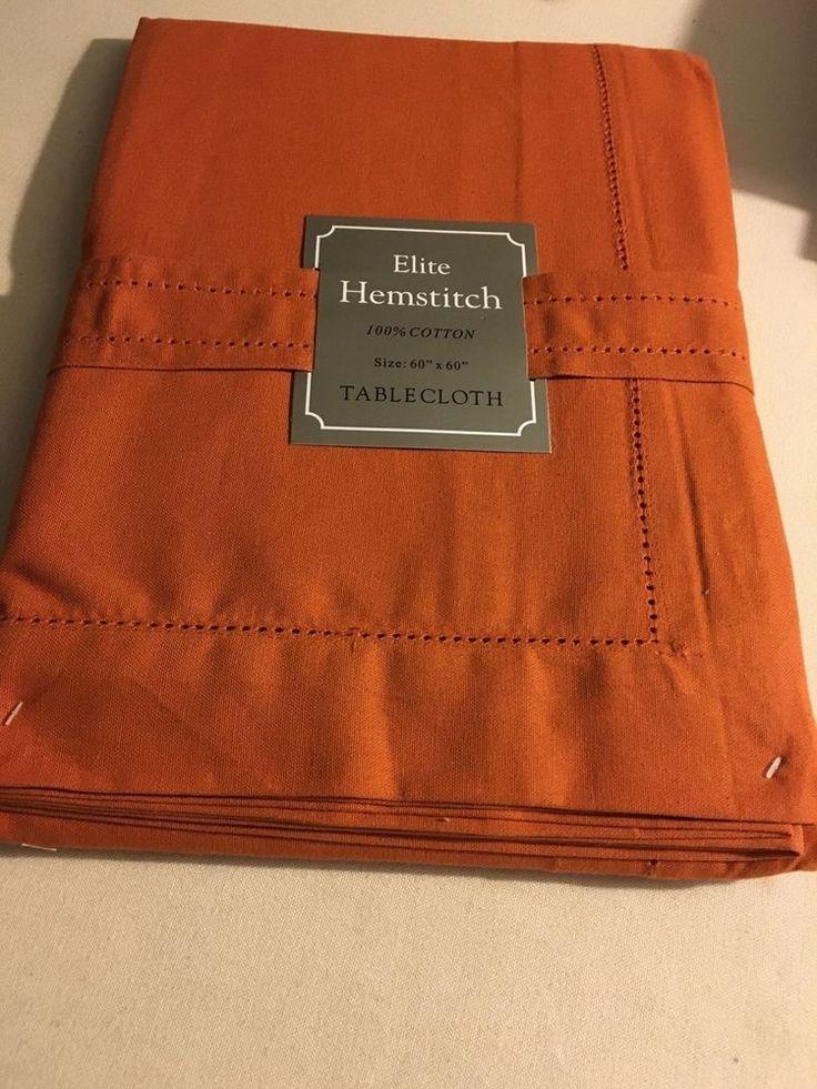 """Elite Hemstitch 100% Cotton 60"""" X 120""""  solid  Pumpkin Orange  Tablecloth NWT #EliteHemstitch"""
