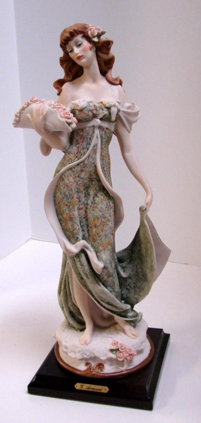 Armani Figurine Lady With Flowers Hat 1992 Event.