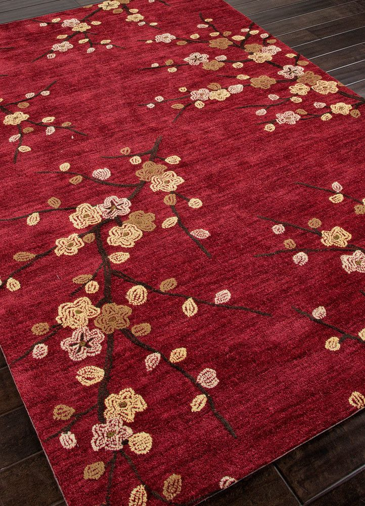 Red Area Rug With Spring Pattern
