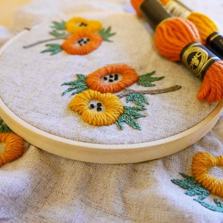 ウール刺繍のボリューム感!!たまらなく可愛い(♡∇♡) #刺繍#ウール刺繍 #ウール糸 #タペストリーウール #樋口愉美子  #woolstitch#wool…
