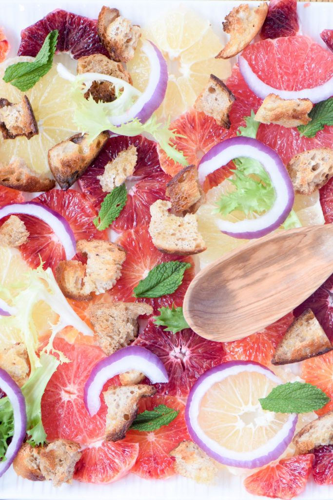 Winter citrus bread salad: a colorful and refreshing winter salad with the best of seasonal citrus fruits from blood oranges to grapefruit.