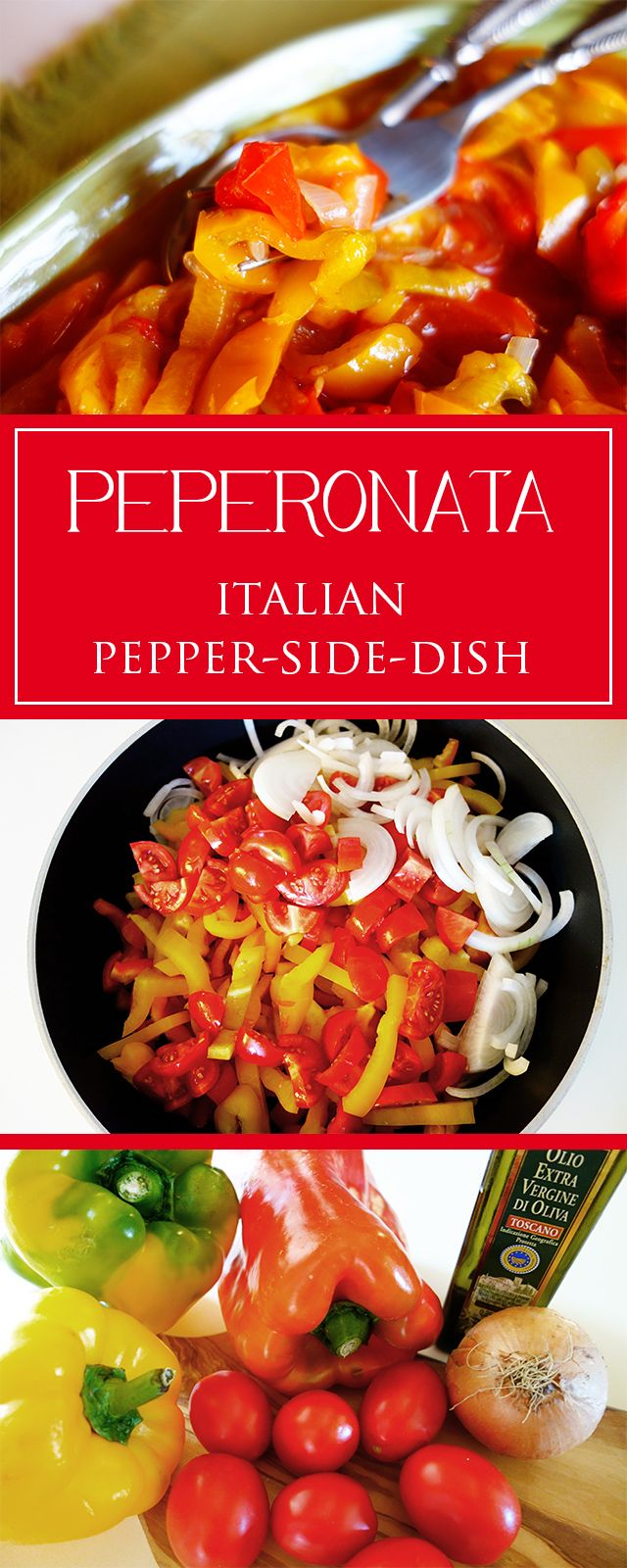 Peperonata - the ideal vegetarian side-dish-recipe for a barbecue in summertime. Moreover gluten-free, healthy & soooo tasty ❤️   cucina-con-amore.com