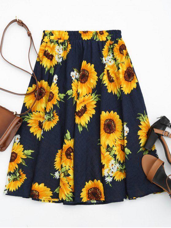 Sunflower Print High Waist Skirt - FLORAL ONE SIZE