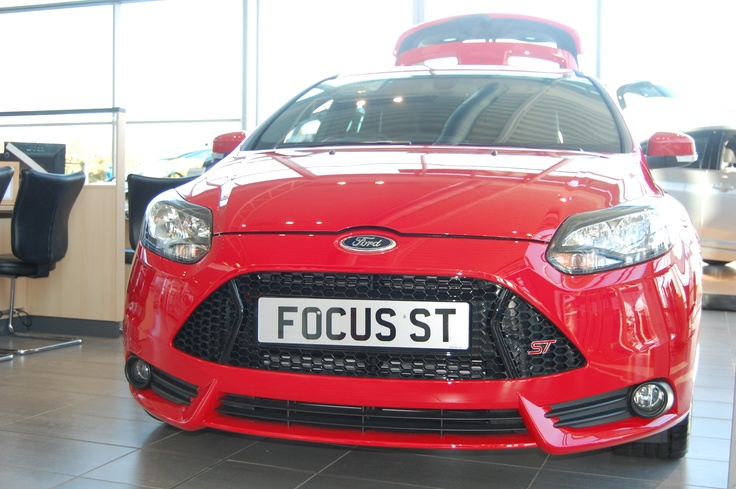 The new Ford Focus ST looks striking in red at Essex Auto Group.