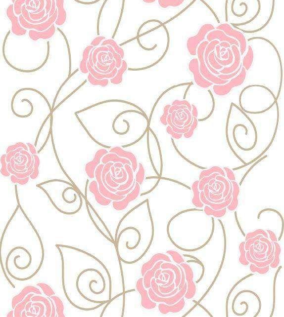 Papel de parede floral com fundo branco, flores rosa e ramos marrom - Rose 17