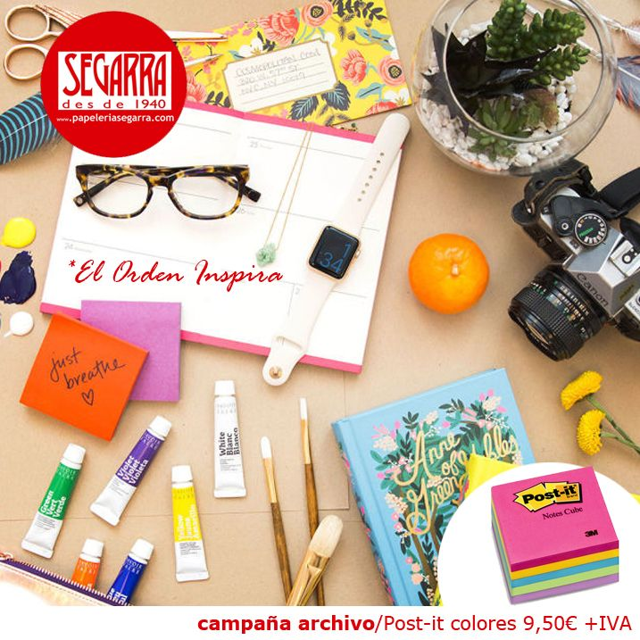 post-it de colores  material de oficina http://papeleria-segarra.blogspot.com.es/2016/01/archivo-el-orden-inspira.html