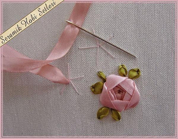 bordado con cintas - sencilla capullo hacer